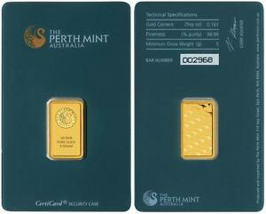 5 gram Perth Mint minted 99.99% gold bar.