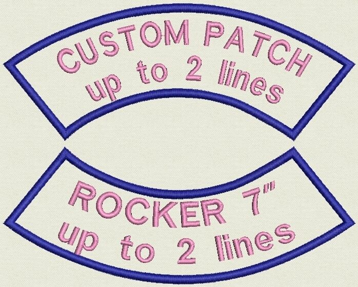 """Set of 2 Rocker Name Tag, Biker Patch, badge 7"""" x 2.85"""" up to 2 lines"""