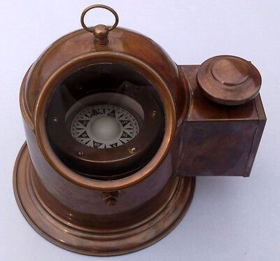 Vintage Brass Binnacle Compass w/ Oil Lamp / Nautical Compass Boat Compass