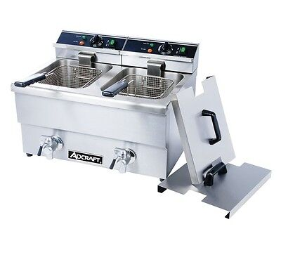 Adcraft Df-12l-2 Double Tank Deep Fryer With Faucet