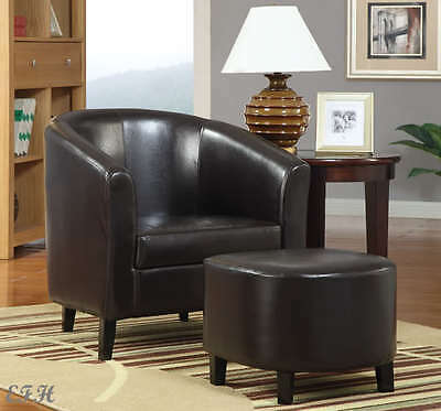 NEW MALTA  CONTEMPORARY BLACK BYCAST LEATHERETTE ACCENT CHAIR & (Leatherette Accent)