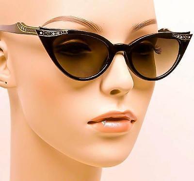 Vintage Pin Up Cat Eye Black Gold Crystals Rockabilly Fashion Sunglasses 1317 (Cat Eye Crystal)