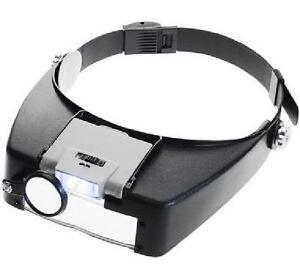 Adjustable Lightweight Illuminated Head Magnifier, 4 Lens Powers 1.5X, 3X, 8.5X, 10X - Black