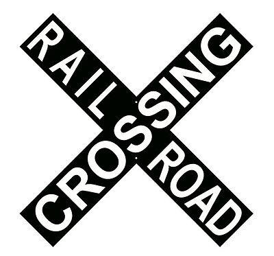Black Cross Buck Railroad Crossing Sign