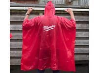 20x Multipack, Milwaukee Poncho, Waterproof PVC, One size fits all adults, in Red with white logo.