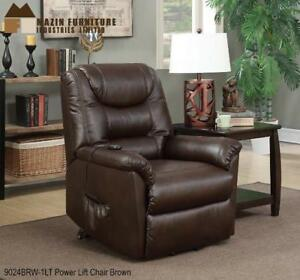 Power Lift Chair in Brown Leather on Sale (BD-2444)