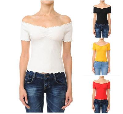 Women Short Sleeve Ruched Neck Lettuce Edged Off Shoulder ribbed Shirt 71089