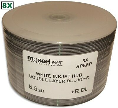 50-Pak MBI 8X White Inkjet Hub Printable 8.5GB Double Layer DL DVD+R's