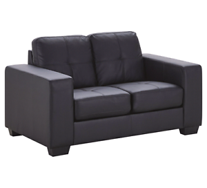 Black 2 seater bonded leather couch Brighton Bayside Area Preview