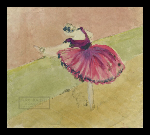 Degas Dancer in Pink ORIGINAL embellished MONOTYPE painting C Peterson SIGNED