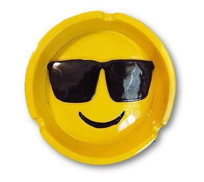Smiley Face With Sunglasses Emoji Design Polyresin Ashtray (Emoji Face With Sunglasses)