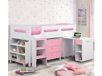 Childrens single cabin bed and matching furniture set (Kimbo pink and white set)
