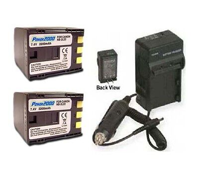 Two 2 Bp-2l22 Bp2l22 Battery + Charger For Canon Elura 40 50 60 65 70 80 85 90