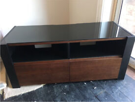 Walnut and black glass TV unit cabinet with cupboard