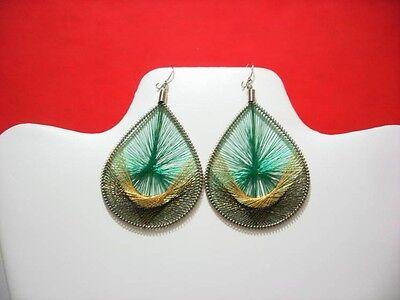 12 Pairs of Metallic Thread Earrings Jamaican Color handmade Medium Size