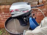 MARINER 6HP 2 STROKE SHORT SHAFT TWIN CYLINDER OUTBOARD BOAT ENGINE RIB SIB TENDER
