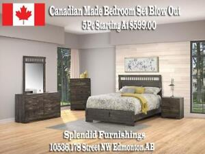 Weekend Speciall!  Elegant, Contemporary, Canadian Made 5 Pc Bedroom Set Blow Out