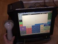 POS till machine with barcode scanner, cash drawer and printer