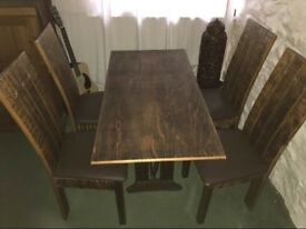 Singer based wooden table & 4 chairs