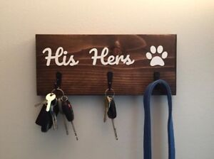 His Hers Paw Wooden Sign / Key and Leash Hanger