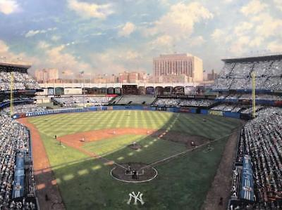 """Thomas Kincade """"NEW YORK YANKEES STADIUM"""" ON CANVAS HAND EMBELLISHED H/SIGNED"""
