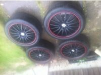 "17"" TEAM DYNAMICS 4 STUD MULTI ALLOYS WITH VERY GOOD TYRES (225/45/17)"