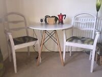 Pair of Wooden Dining Chairs (white & green)