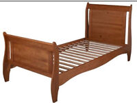 3 month old wooden sleigh style single bed