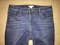 H&M Dark Navy Mid Rise Mid Wash Slim Fit Denim Jeans Size M EUR 40 UK 12-14