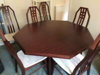 Mahogany Dining Table with 6 Charles Rennie Mackintosh inspired chairs, extendable