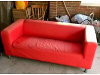 Ikea Klippan Sofa - 2-3 seater + red cover