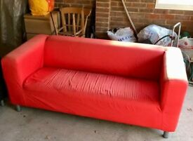 Ikea Klippan Sofa - 2/3 seater + red cover