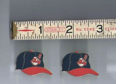 """Lot of 2 Vintage CLEVELAND INDIANS Tribe LAPEL HAT PIN Pinback Button - 1.25"""""""
