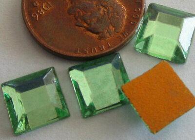 HUGE LOT: 114 Vintage German Glass 8mm Beveled Pale Green Square Stones 8 Square Beveled Glass