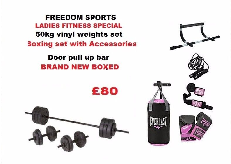 50kg weights set, Womens boxing set upper body door bar BRAND NEW BOXED
