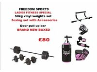 50kg weights set, Womens boxing set upper body door bar BRAND NEW BOXED