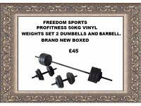 PROFITNESS 50kg Vinyl Barbell Dumbbell Set BRAND NEW BOXED