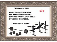 Profitness bench with fly and leg curl with 60kg vinyl weights set brand new boxed
