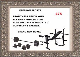 Profitness bench with fly and leg curl With 60kg vinyl Weights Set Brand New Boxed FOLDING BENCH