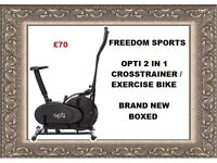 Opti 2 in 1 Cross Trainer and Exercise Bike brand new boxed