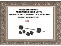 profitness 50kg VINYL Weight Set with DumbbellS AND BARBELL