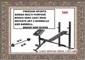 ADIDAS MULTI PURPOSE BENCH + CURL 50KG IRON WEIGHTS SET BNB 2 DAY SPEICAL