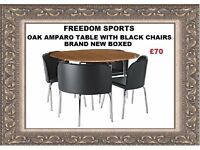 Hygena Oak Amparo Dining Table & 4 Chairs - Black Brand New Boxed