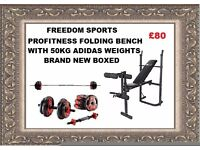 Profitness bench and leg curl With 50kg ADIDAS VINYL Weights Set Brand New Boxed FOLDING BENCH