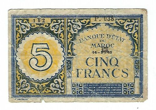 Morocco - 1943, 5 Francs