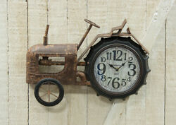 Farmhouse RUSTIC TRACTOR CLOCK Country Primitive Wall Hanging Farm Metal