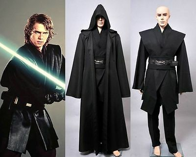 Dark Jedi Sith Darth Vader Adult Black Costume Cloak Robe Cosplay Wars Star  - Jedi Costumes Adults