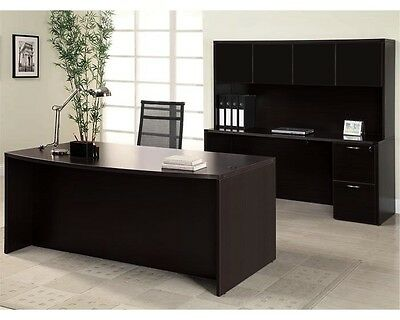 Amber Bowfront Executive Office Desk With Filefile Kneespace Credenza And Hutch