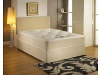 DIVAN LEATHER BED SET WITH LUXURY DUAL TURN TUFTED MATTRESS (All Sizes Available)