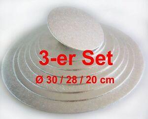 Cakeboard-Set 3 tlg., Ø 30/28/20cm silber, Kuchenplatte rund aus Pappe, FunCakes